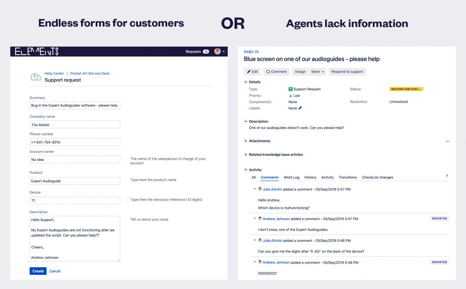 Jira Service Desk difficulties without Elements Connect