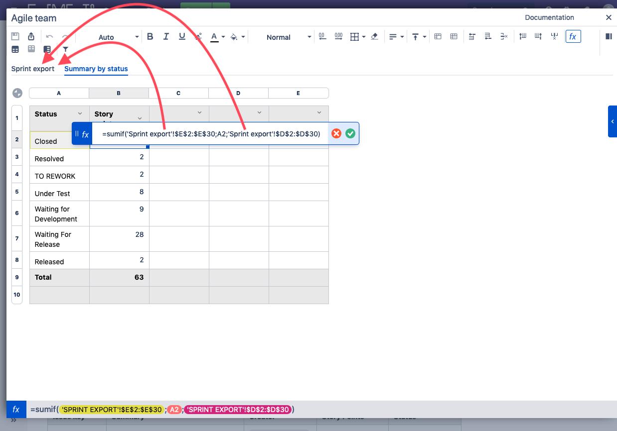 Elements Spreadsheet formulas for sprint retrospective