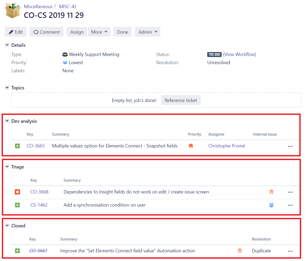 Weekly software bug triage in Jira using Elements Copy & Sync