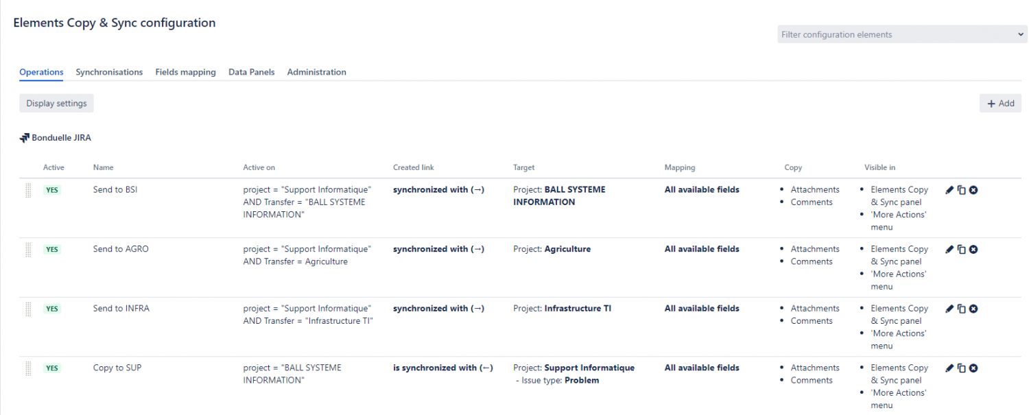 Elements Copy & Sync operations operations to copy requests to different projects