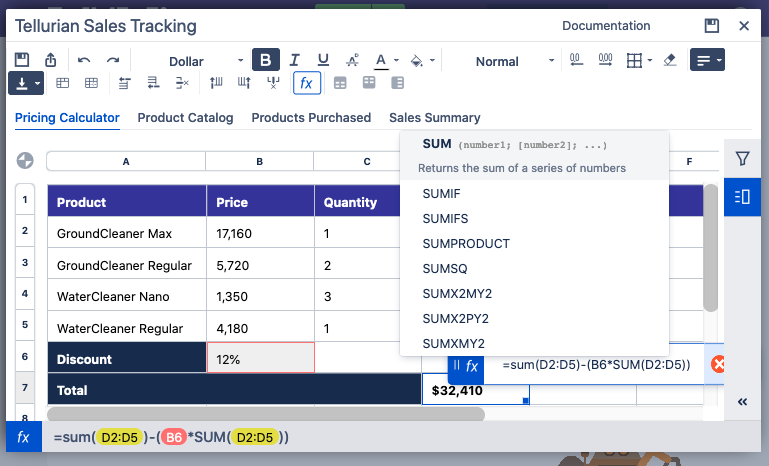 Create real spreadsheets with formulas, filters, and drop-down lists