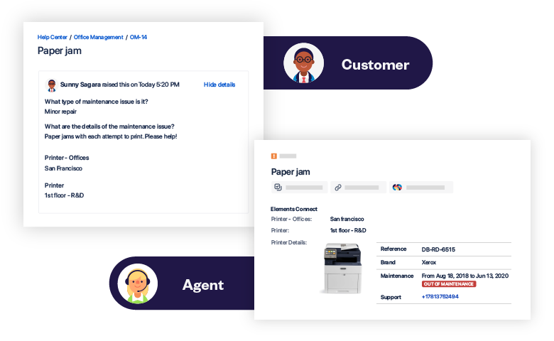 Elements Connect allows you to show different information to the agent and the customer