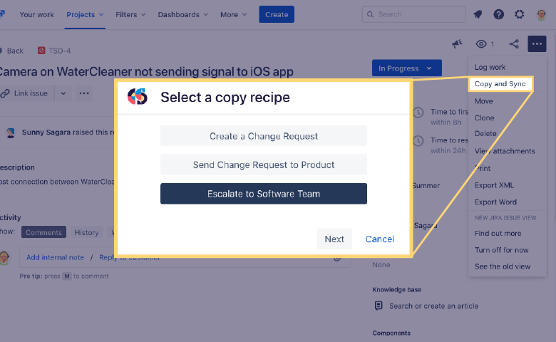 Select a copy recipe for Jira Cloud