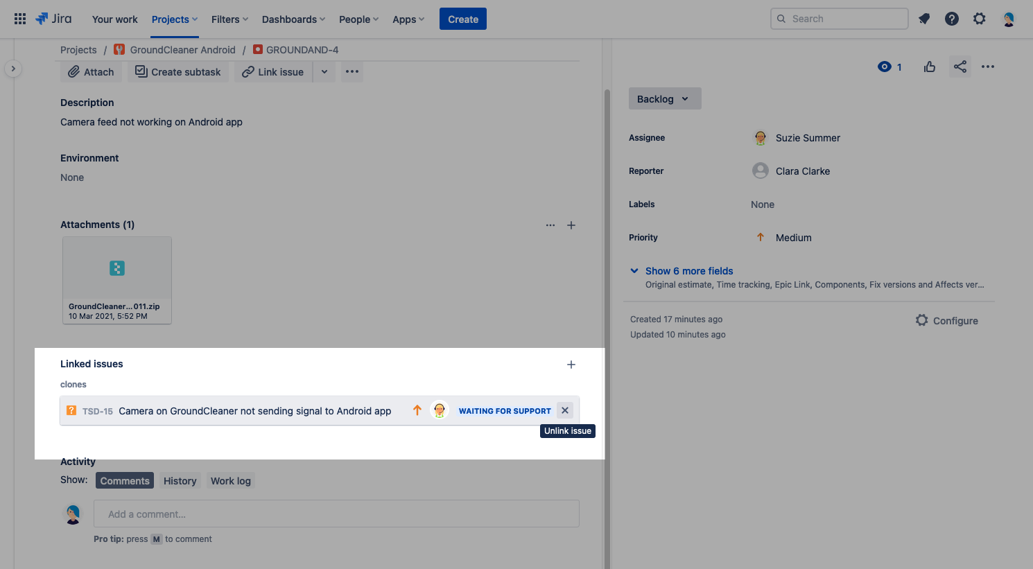 How to remove jira cloned link