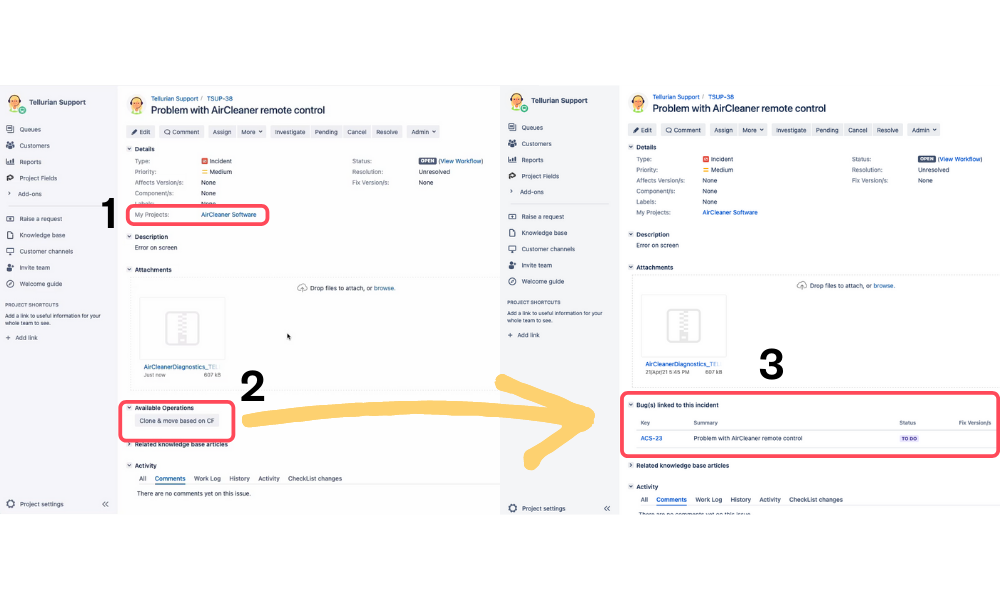 Preview of clone and move operation in Jira